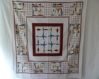 "Vintage Mid Century Simtex Tablecloth ""Toss Up"" 44 x 50"" Brown Teal Yellow Kitchen Utensils"