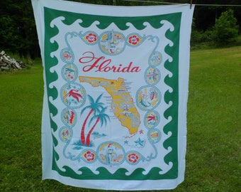 Vintage Startex Florida State Souvenir Tablecloth 54 x 62""