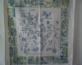Vintage Washington State Souvenir Tablecloth 30 x 33 Cotton
