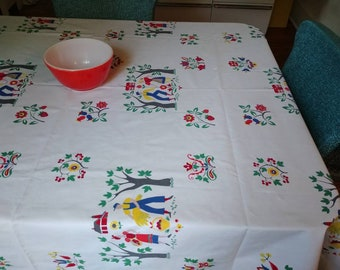 """Vintage 1950's Wilendure Tablecloth """"Country Life"""" Farmer Wife Bright Primary Colors"""
