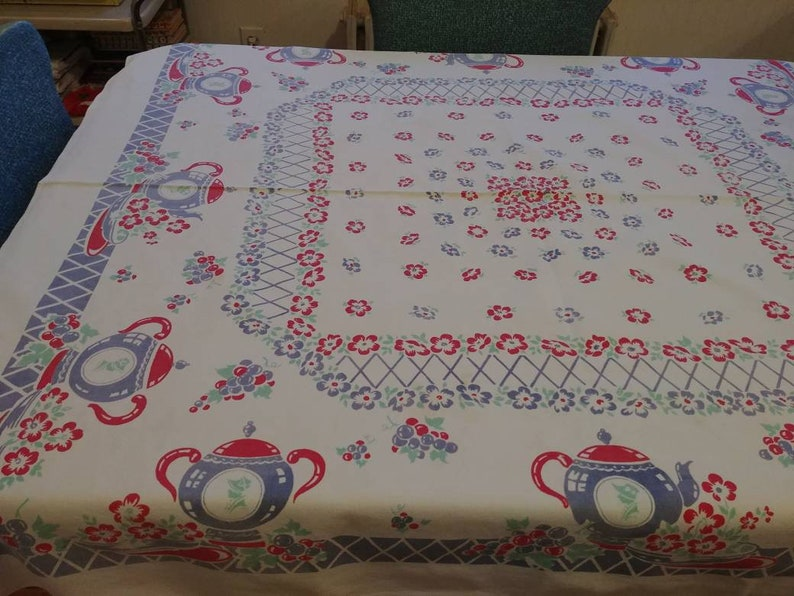 "From ""Pleasant Days Vintage"" on Etsy. A similar, 30's era Tablecloth to Inez' gift to her mother."