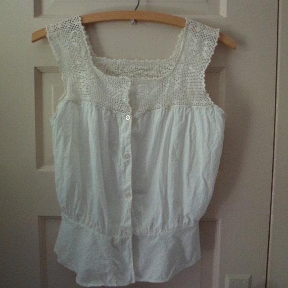 Antique Victorian White Cotton Camisole Corset Cov