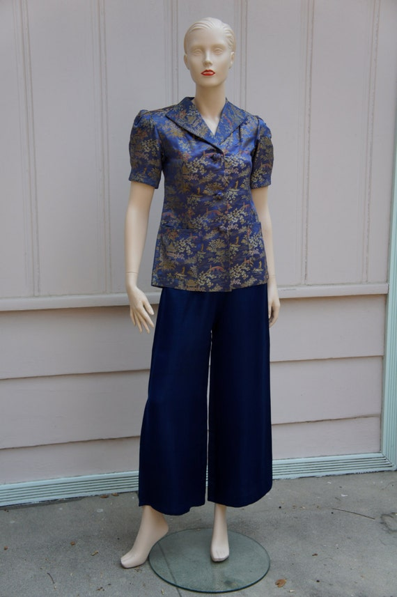 Royal blue, palazzo pant, embroidered, Chinese paj