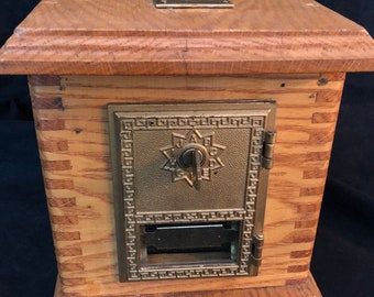 Vintage Post Office Box BRASS DOOR BANK, Oak, Key Lock