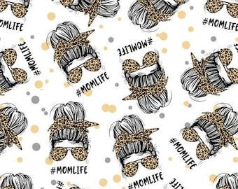 Mother's Day Fabric, Celebration fabric, MOMLIFE Fabric, Custom Print Fabric, Fabric By The Yard (MOM7)