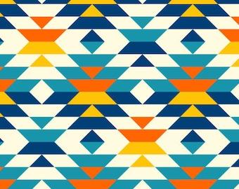 Colorful Aztec Fabric, Southwestern Fabric, Aztec Diamonds Fabric, Custom Printed Fabric (AZT2)