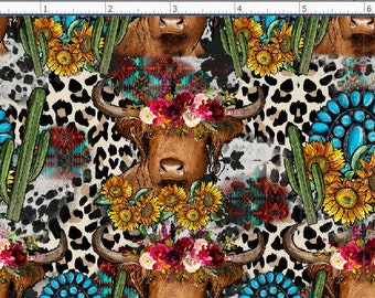 Cow Girl Fabric,  Cowboy Fabric , Southwestern Fabric, Cow, Rodeo Fabric. (WES1)