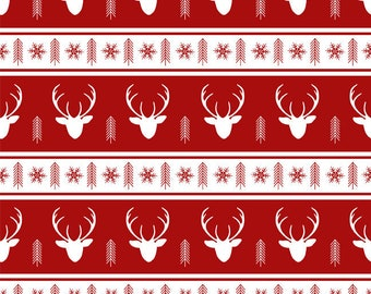 Holidays Fabric Fabric By The Yard Woodland Forest Fabric Christmas Deer Fabric WNT47 Christmas  Reindeer Fabric