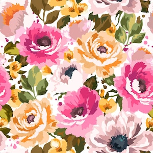 Flower Cotton Knit Fabric by the Yard 75 Wide MR Somsom Flower