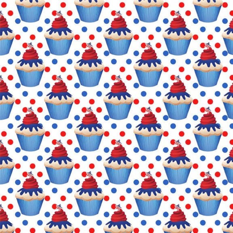 USA Patriotic Fabric 4th July Fabric ID22 Patriotic Cupcakes Fabric Cup Cake Fabric by the Yard