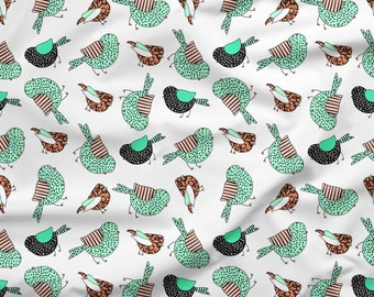 Little Birdie Fabric, 100% Organic Interlock Knit cotton, Knit Fabric, Kona Cotton, Cotton Spandex Jersey Knit, Fabric By The Yard