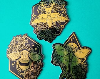 Metallic Gold Insects - Sticker Set, Bee Moth Beetle Bug Stickers