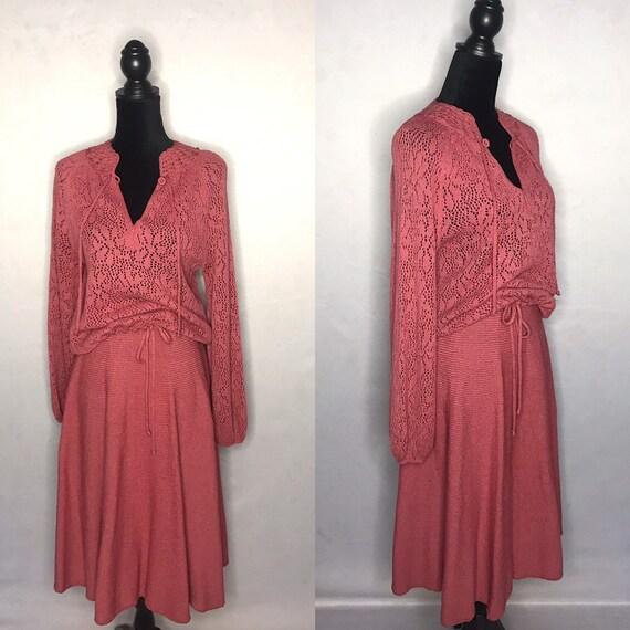 1970s Knit set/ Vintage 1970s knit 2 piece set.