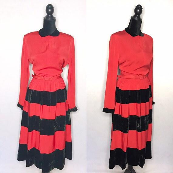 1930s dress/ vintage 1930s striped dress red/black