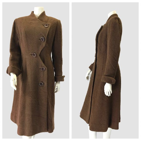 1940s coat/ Vintage 1940's Brown Bouchle Coat.