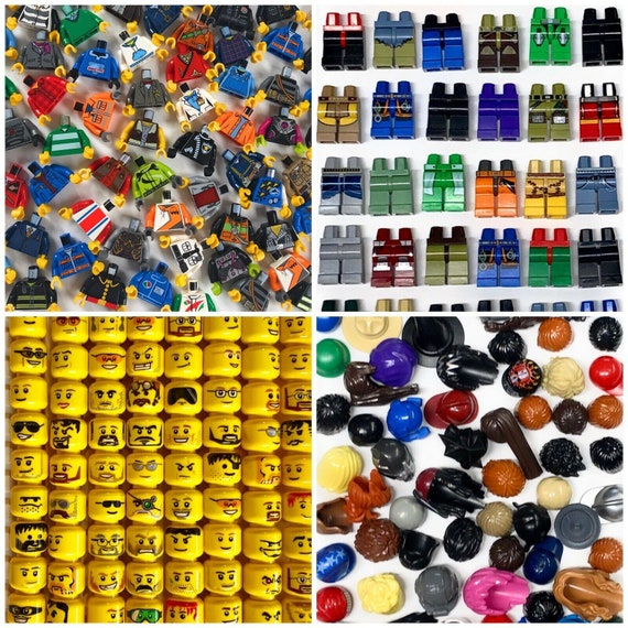 LEGO® Minifigures Mixed Lot City Town Head Torso Legs Caps Hats Hair Brand New