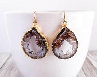 Geode Earrings - Agate Druzy Quartz Crystals