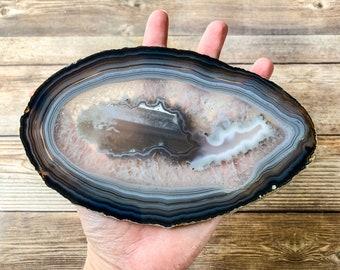 Large Natural Agate Slice Geode Slice - Coaster Size - Agate for Frame Mineral Specimen Rocks and Crystals Agate