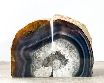 Agate Bookends Geode Bookends - Natural Stone Book Ends White and Brown