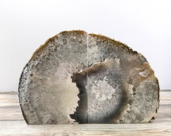 Agate Bookends Extra Quality Geode Bookends - Natural Gray Stone