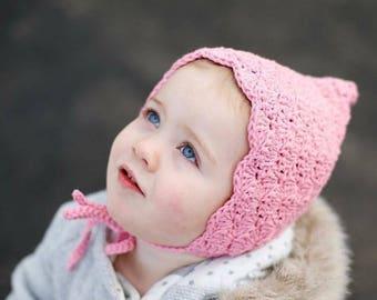 Crochet Baby Bonnet - Baby Bonnet - Pixie Bonnet - Toddler Bonnet - Infant Baby Bonnet - Pink Bonnet - Baby Girl Bonnets - Baby Girl Hats