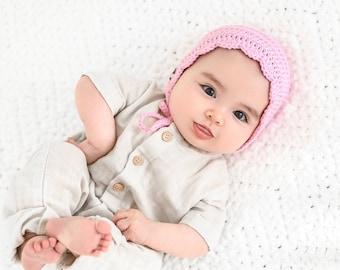 Crochet Baby Bonnet, Baby Girl Bonnet, Newborn Bonnet, Baby Shower Gift, Baby Girl Gift,