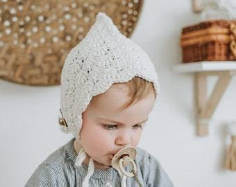 Crochet Baby Bonnet, Baby Girl Bonnet, Toddler Girl Winter Hat, First Birthday Gift, Baby Girl Gift