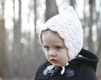 Winter Baby Bonnet - Crochet Baby Hat - Cotton Baby Bonnet - Warm Toddler Hat - Gift for Baby Girl - Natural Cream Finsley Bonnet