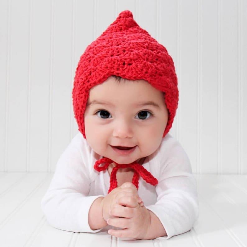 ce960b870910 Crochet Baby Bonnet Baby Bonnet Red Baby Hat Baby Hat