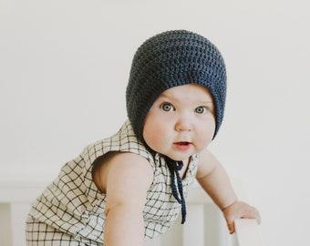 Crochet Baby Bonnet, Baby Bonnets, Baby Shower Gifts, Baby Boy Gift, Navy Blue,