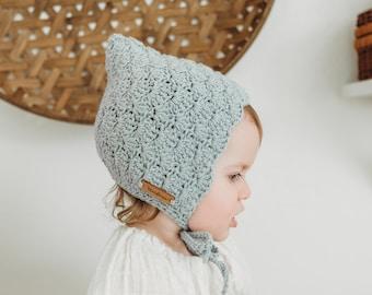 Baby Bonnet Girl, Crochet Baby Bonnet, Pixie Hat, Baby Girl Gift, First Birthday Gift, Light Gray,