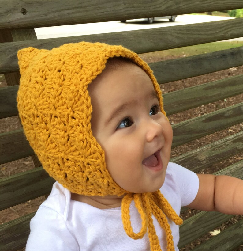 3f50cb508edc Mustard Baby Bonnet Pixie Crochet Baby Hat for Girl Bonnet