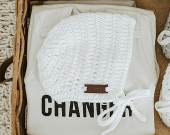 Newborn Photo Prop, Baby Bonnet Boy, Crochet Baby Bonnet, Baby Hat, Baby Boy