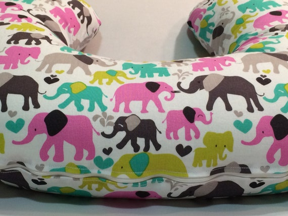 Elephants Nursing Pillow Cover Boppy Cover Colorful Etsy Impressive Minnie Mouse Boppy Pillow Cover