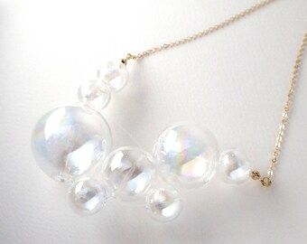 NOVOLA dichoric - Rainbow coated Dichoric Glass bubbles necklace
