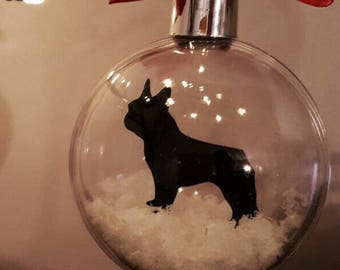 French Bulldog Silhouette in the Snow Pet Bauble