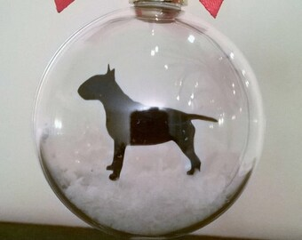 English Bull Terrier Silhouette in Snow Pet Bauble