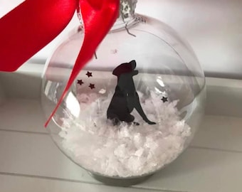 Labrador Silhouette in the Snow Pet Bauble other Breeds Available