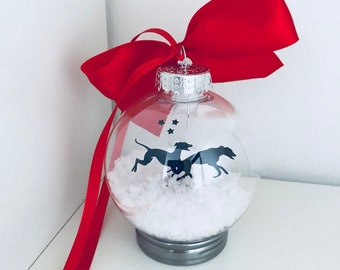 Double Greyhound Silhouette in Snow Pet Bauble