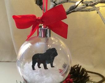 British Bulldog Silhouette in the Snow Pet Bauble