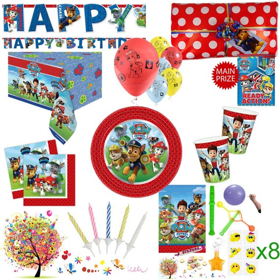 Paw patrol themed party bag parcels filled birthday