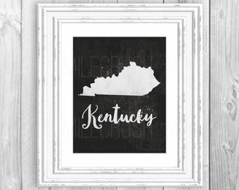 Kentucky Map Print State Silhouette Printable Instant Download Map Kentucky Poster Black and White State Print Black and White Kentucky Map