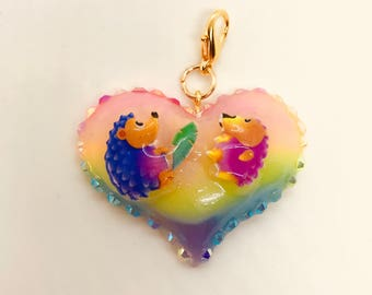 Rainbow Hedgehogs Heart Charm