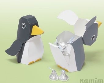 Penguin - Favor boxes, Gift boxes / Printable Paper Craft PDF