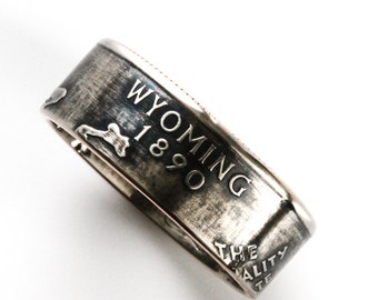 Coin Ring / Wyoming / quarter jewelry / birth year jewelry / statement jewelry / birth year ring / state quarter coin ring / Cheyenne