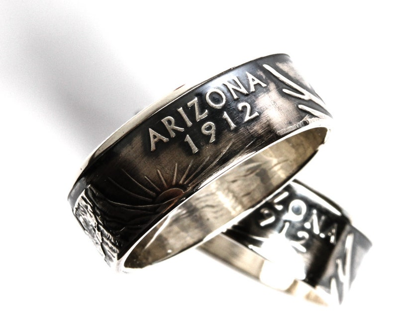 Coin Ring  Arizona  90/% Silver Proof  State Quarter Jewelry  Travel Souvenir  Statement Ring  No Green Finger Ring  Wedding