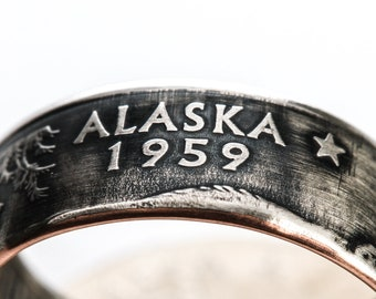 Coin Ring / Alaska  / State Quarter Ring / State Coin Rings / Alaska Ring / Alaska Jewelry / State Jewelry / Coin Jewelry / State Rings