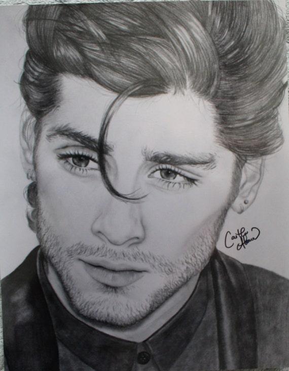 Print Zayn Malik One Direction Pencil Drawing Etsy