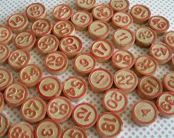complete 60 vintage lotto bingo numbers, wooden game pieces, bingo tiles, markers