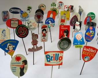 25 vintage stick pins, advertising pins from sixties and seventies, Dutch retro pins